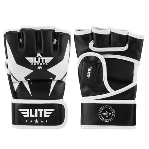 Elite Sports Pro Style Black/White MMA Half Mitts Grappling Gloves