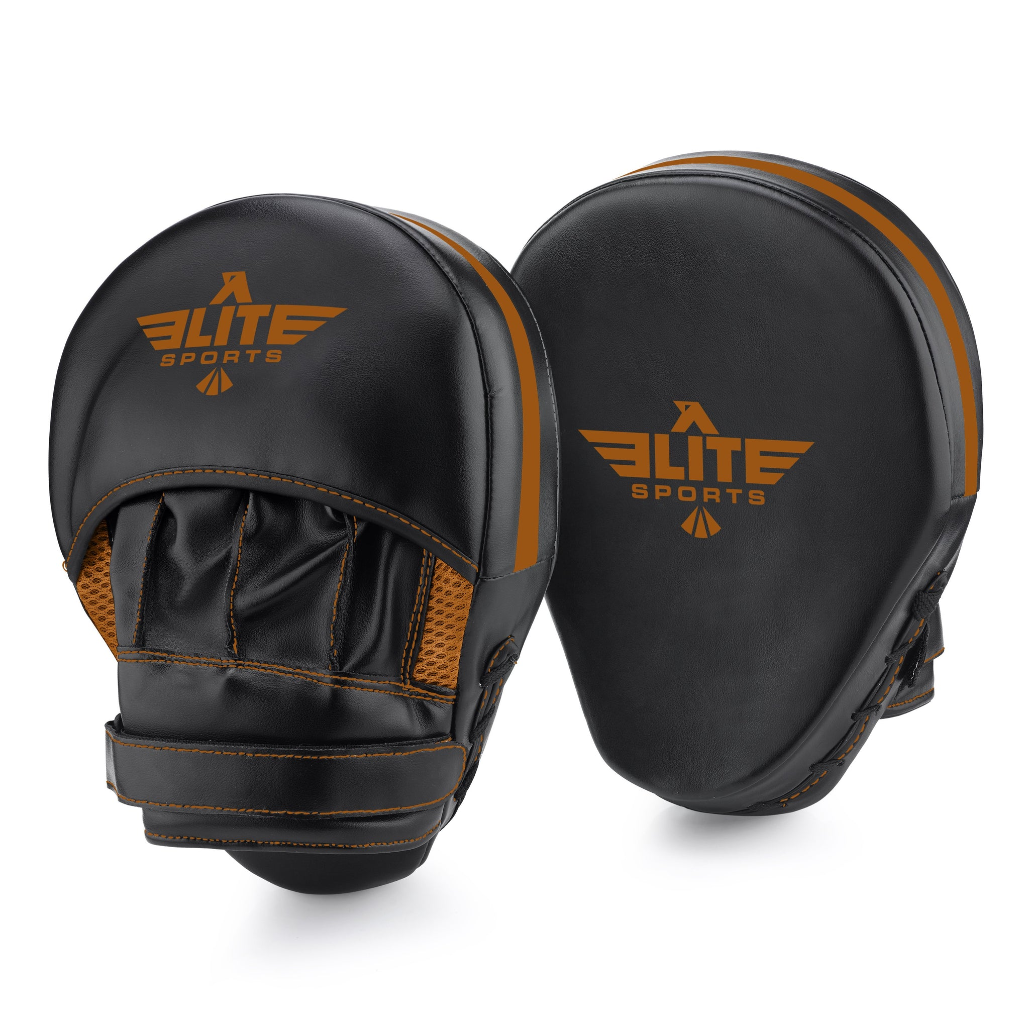 Load image into Gallery viewer, Elite Sports Essential Curved Black/Copper MMA Punching Mitts