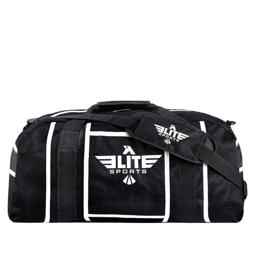 Elite Sports Warrior Series Black/White Strip Large Duffel Taekwondo Gear Gym Bag