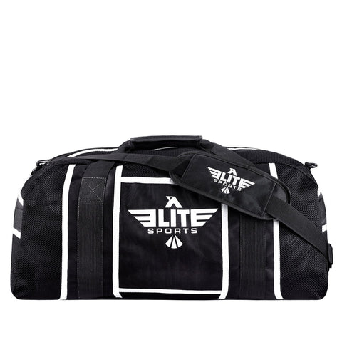 Elite Sports Warrior Series Black/White Strip Large Duffel Brazilian Jiu Jitsu BJJ Gear Gym Bag
