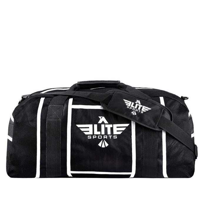 Elite Sports Warrior Series Black/White Strip Large Duffel MMA Gear Gym Bag