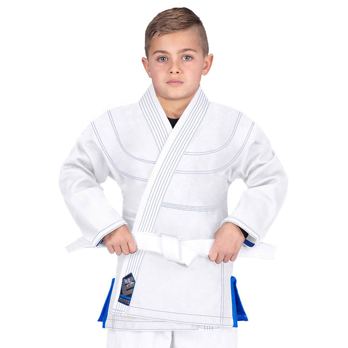Elite Sports Essential Ultra Light Preshrunk White Kids Brazilian Jiu Jitsu BJJ Gi With Free White Belt