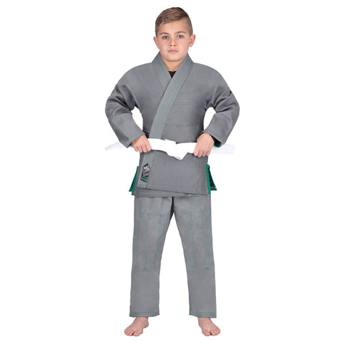 Elite Sports Essential Ultra Light Preshrunk Gray Kids Brazilian Jiu Jitsu BJJ Gi With Free White Belt
