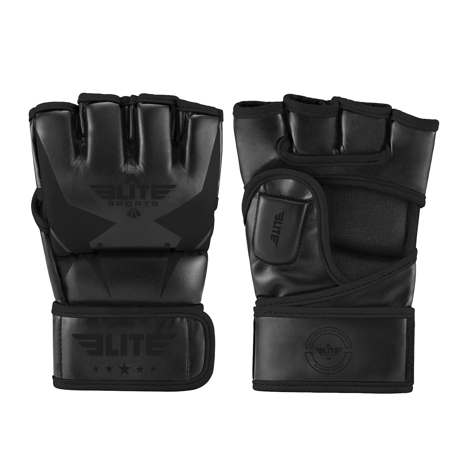 Elite Sports Pro Style Black MMA Half Mitts Grappling Gloves