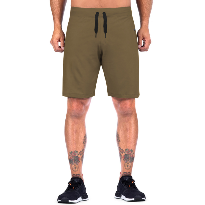 Elite Sports Mens Plain Olive Crossfit Shorts