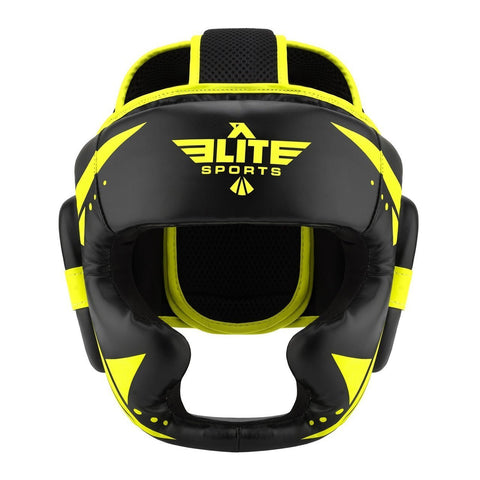 Elite Sports Star Series Sparring Black/Hi Viz Karate Headgear