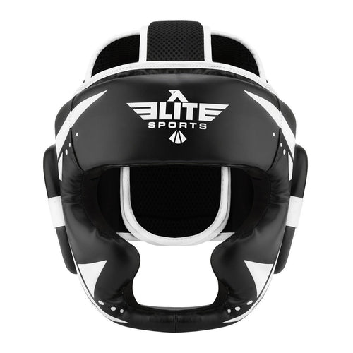 Elite Sports Star Series Sparring Black/White Muay Thai Headgear