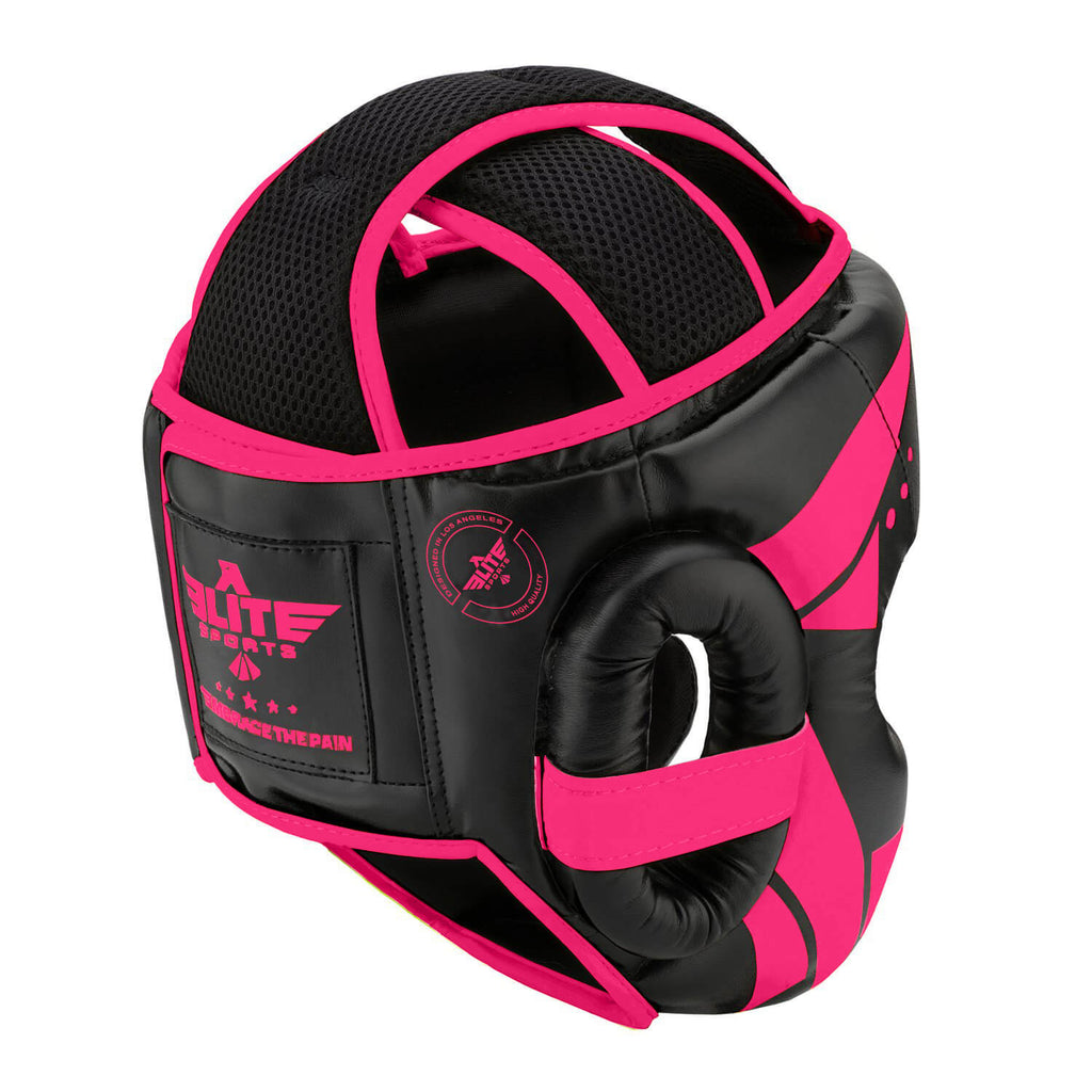 Elite Sports Star Series Sparring Black/Pink Boxing Headgear