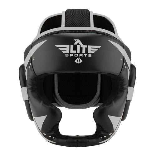 Elite Sports Star Series Sparring Black/Silver Muay Thai Headgear