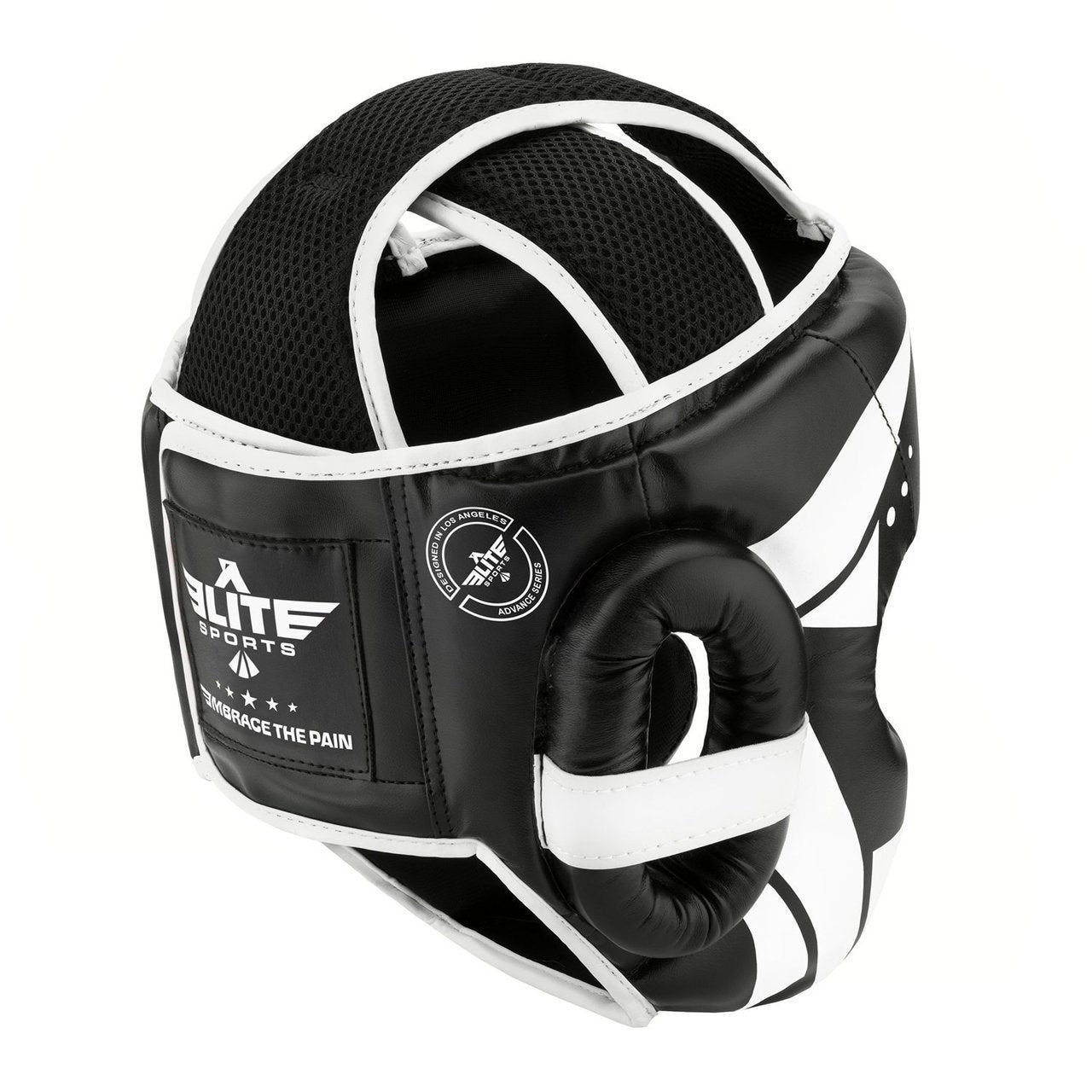 Load image into Gallery viewer, Elite Sports Star Series Sparring Black/White Muay Thai Headgear