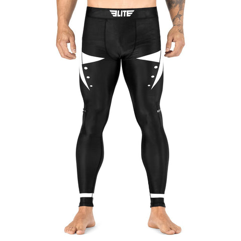 Elite Sports Star Series Black/White Advance Compression Muay Thai Spat Pants