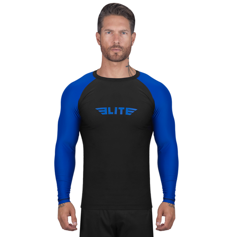 Elite Sports Standard Black/Blue Long Sleeve Brazilian Jiu Jitsu BJJ Rash Guard