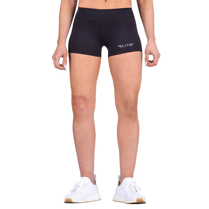 Elite Sports Women Plain Black Wrestling Shorts