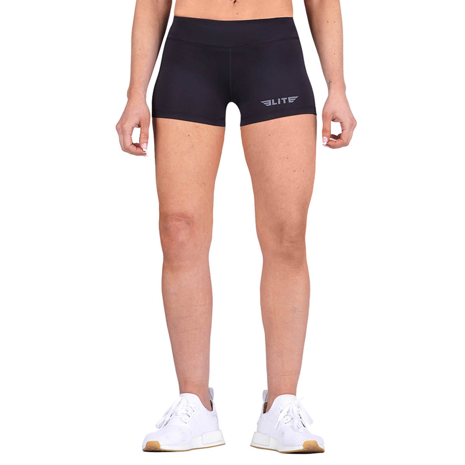Elite Sports Women Plain Black Crossfit Shorts