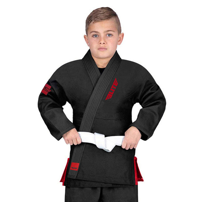 Elite Sports Ultra Light Preshrunk Black Kids Brazilian Jiu Jitsu BJJ Gi With Free White Belt