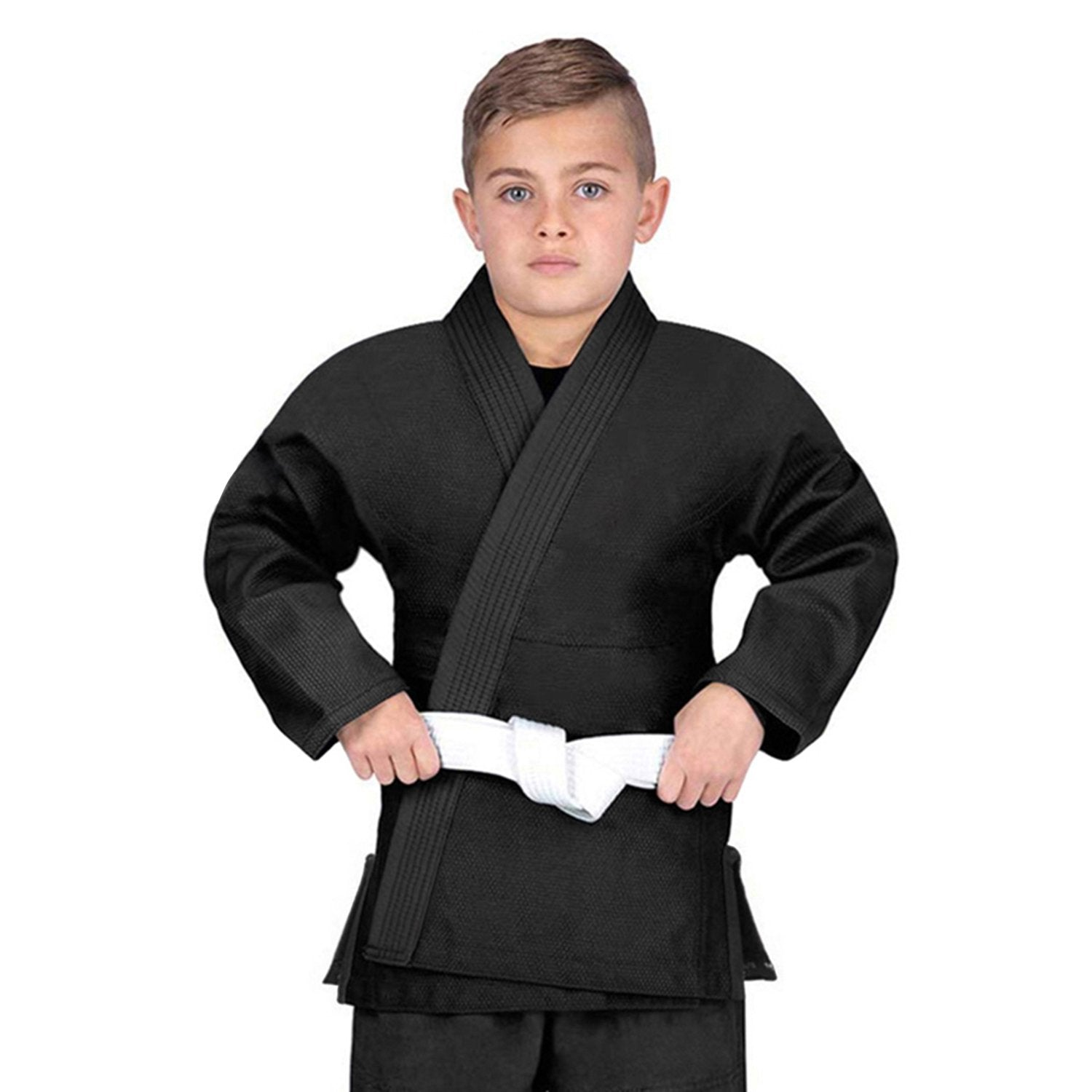 Elite Sports Essential Lightweight Preshrunk Black Kids Brazilian Jiu Jitsu BJJ Gi With Free White Belt