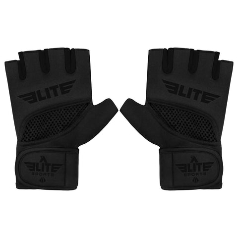 Elite Sports Black Cross MMA Gel Hand Wraps
