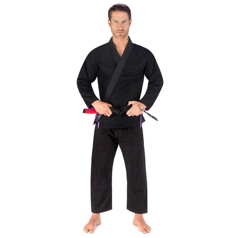 Elite Sports Essential Ultra Light Preshrunk Black Adult Brazilian Jiu Jitsu BJJ Gi With Free White Belt