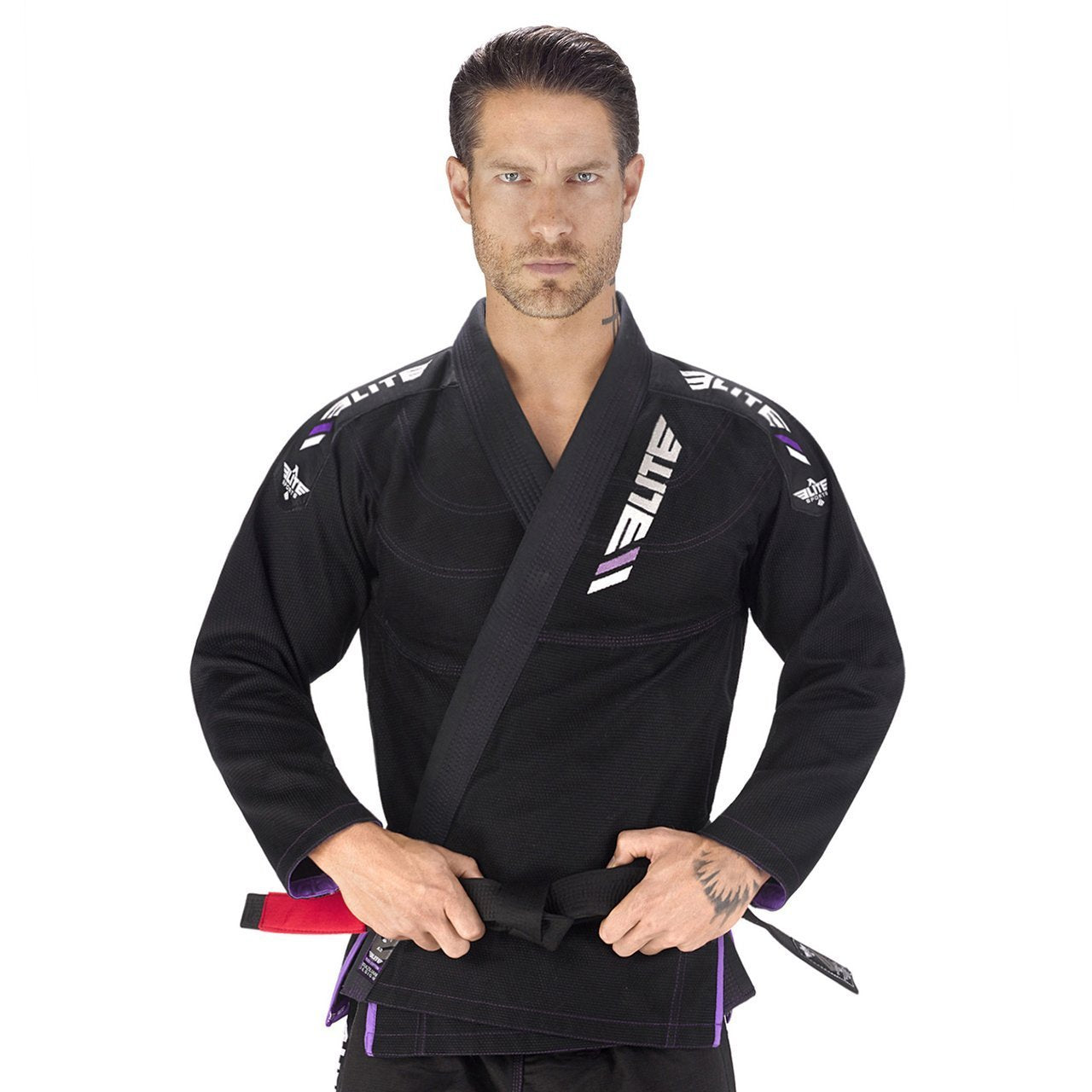 Elite Sports Ultra Light Preshrunk Black Adult Brazilian Jiu Jitsu BJJ Gi With Free White Belt