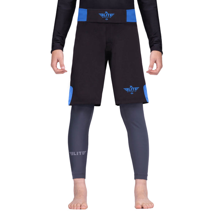 Elite Sports Jack Series Black/Blue Kids Wrestling Shorts
