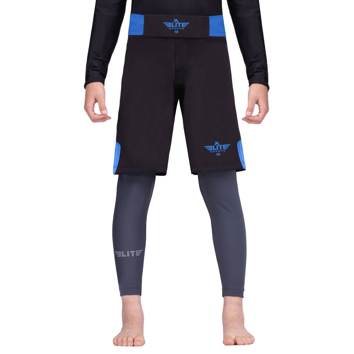 Load image into Gallery viewer, Elite Sports Jack Series Black/Blue Kids Bjj NO-GI Shorts