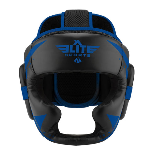 Elite Sports Star Series Sparring Black/Blue Muay Thai Headgear