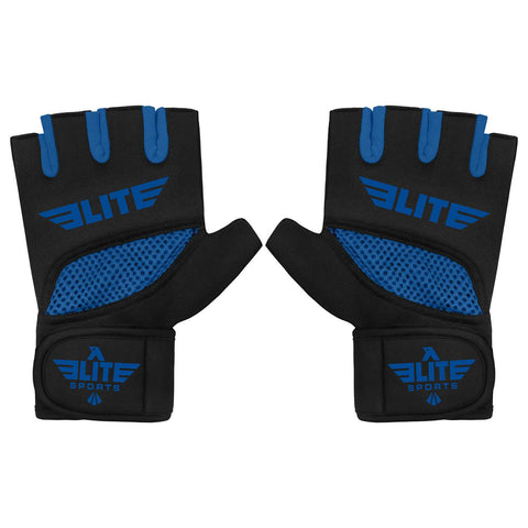 Elite Sports Black/Blue Cross MMA Gel Hand Wraps