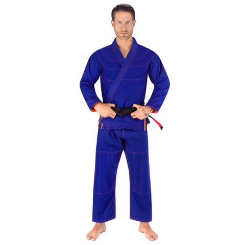 Elite Sports Essential Ultra Light Preshrunk Blue Adult Brazilian Jiu Jitsu BJJ Gi With Free White Belt
