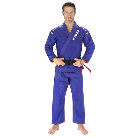 Elite Sports Ultra Light Preshrunk Blue Adult Brazilian Jiu Jitsu BJJ Gi With Free White Belt