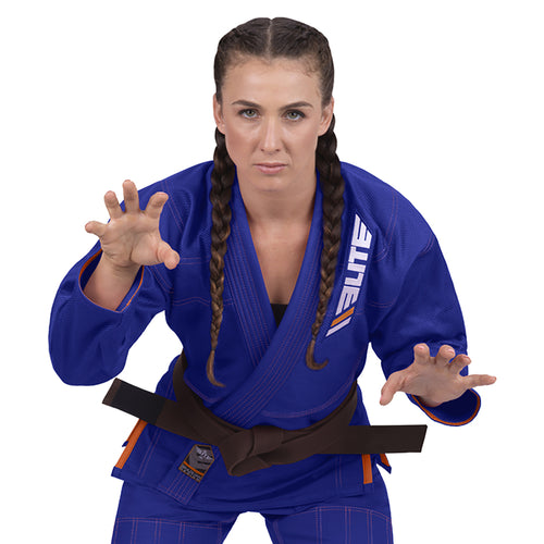 Elite Sports Ultra Light Preshrunk Blue Women Brazilian Jiu Jitsu BJJ Gi With Free White Belt