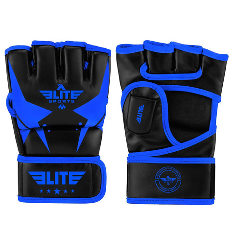 Elite Sports Pro Style Black/Blue MMA Half Mitts Grappling Gloves