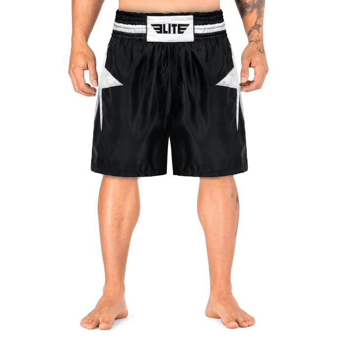 Elite Sports Star Series Sublimation Black/White Boxing Shorts