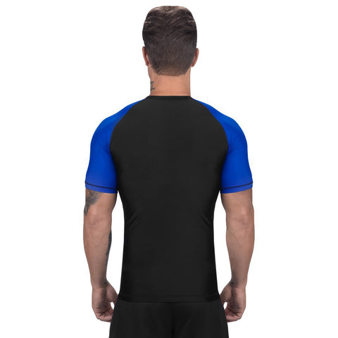 Elite Sports Standard Black/Blue Short Sleeve MMA Rash Guard