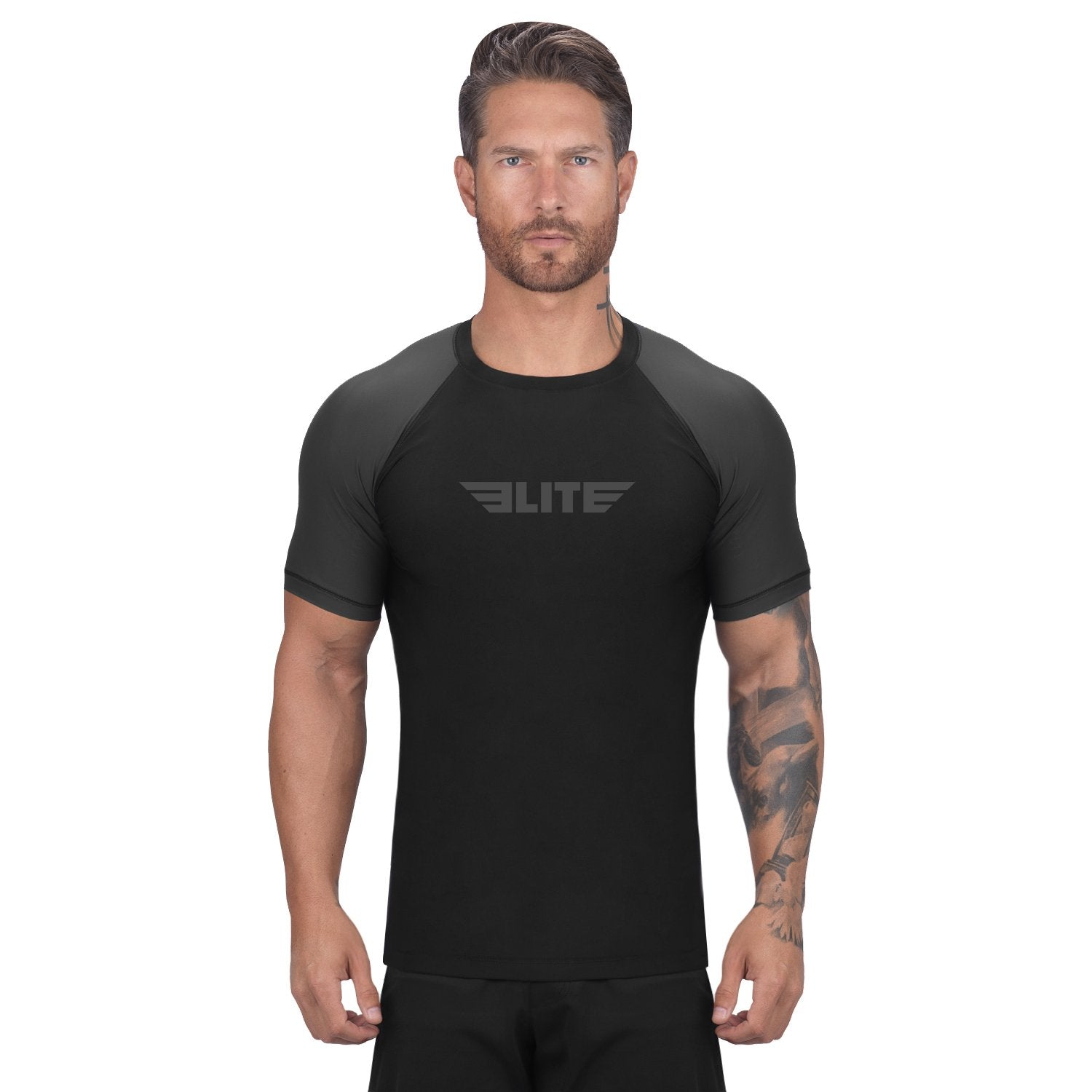 Elite Sports Standard Black/Gray Short Sleeve Brazilian Jiu Jitsu BJJ Rash Guard