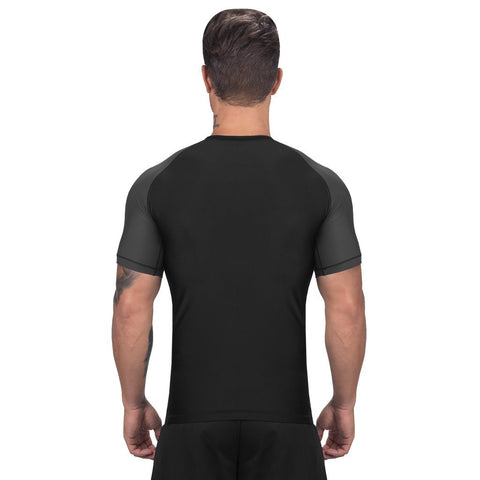 Elite Sports Standard Black/Gray Short Sleeve MMA Rash Guard