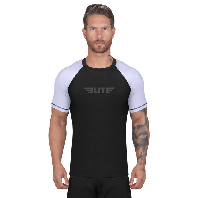 Elite Sports Standard Black/White Short Sleeve Muay Thai Rash Guard