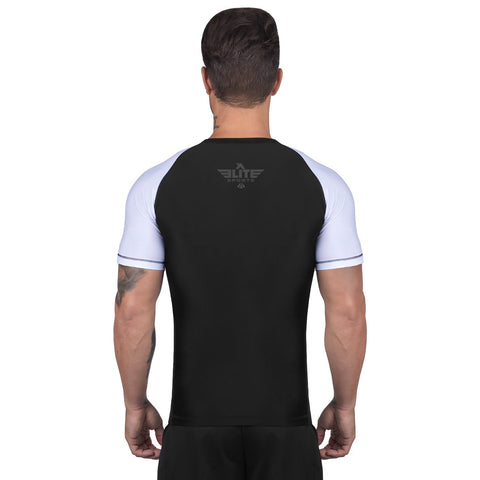 Elite Sports Standard Black/White Short Sleeve Training Rash Guard