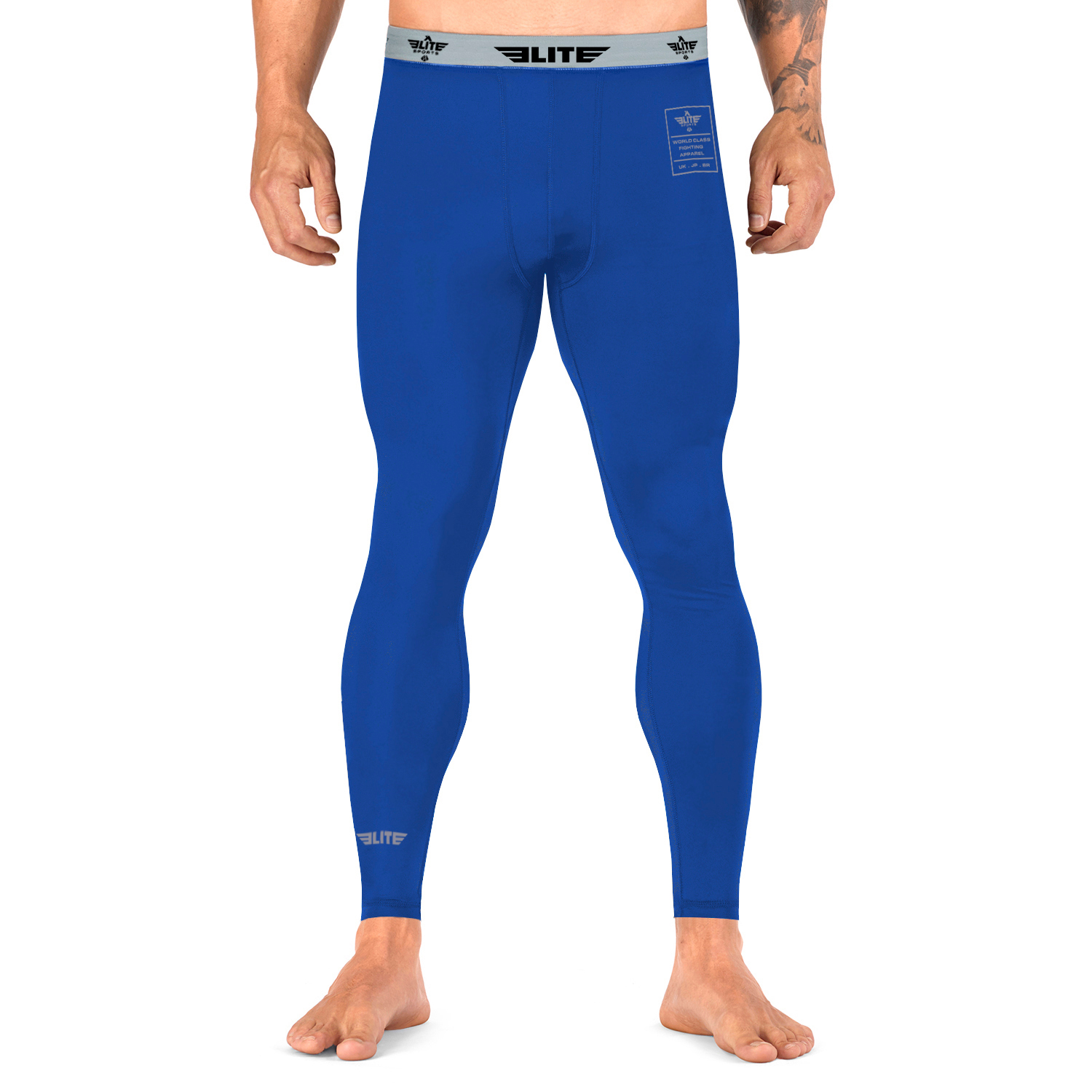 Elite Sports Plain Blue Compression Boxing Spat Pants