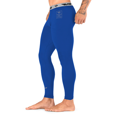 Elite Sports Plain Blue Compression MMA Spat Pants