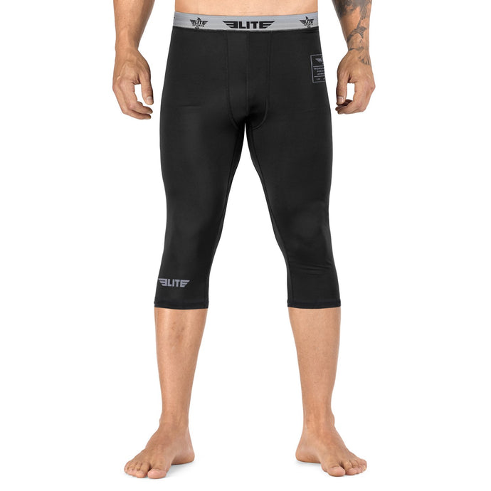 Elite Sports Three Quarter Plain Black Compression Muay Thai Spat Pants