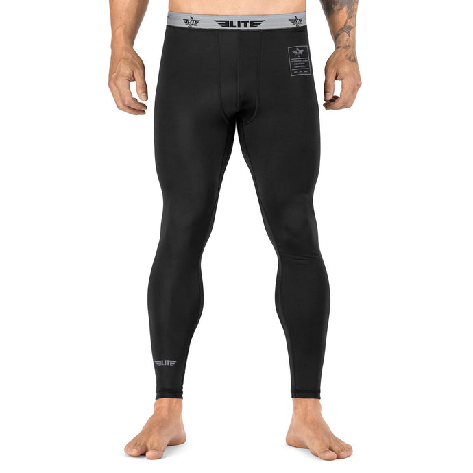 Elite Sports Plain Black Compression Brazilian Jiu Jitsu BJJ Spat Pants