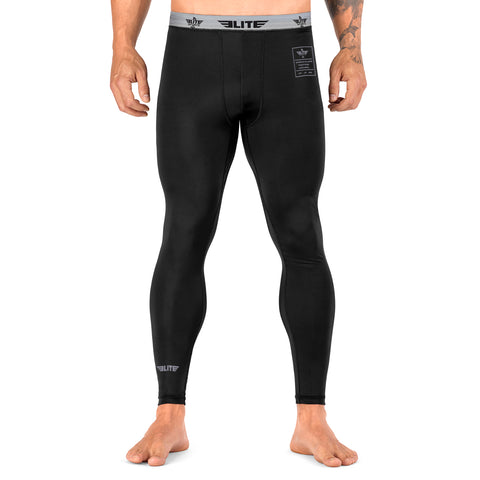 Elite Sports Plain Black Compression Boxing Spat Pants