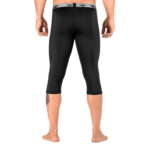 Elite Sports Three Quarter Plain Black Compression Boxing Spat Pants