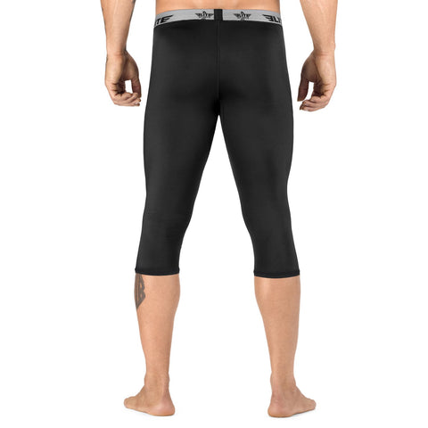 Elite Sports Three Quarter Plain Black Compression Taekwondo Spat Pants