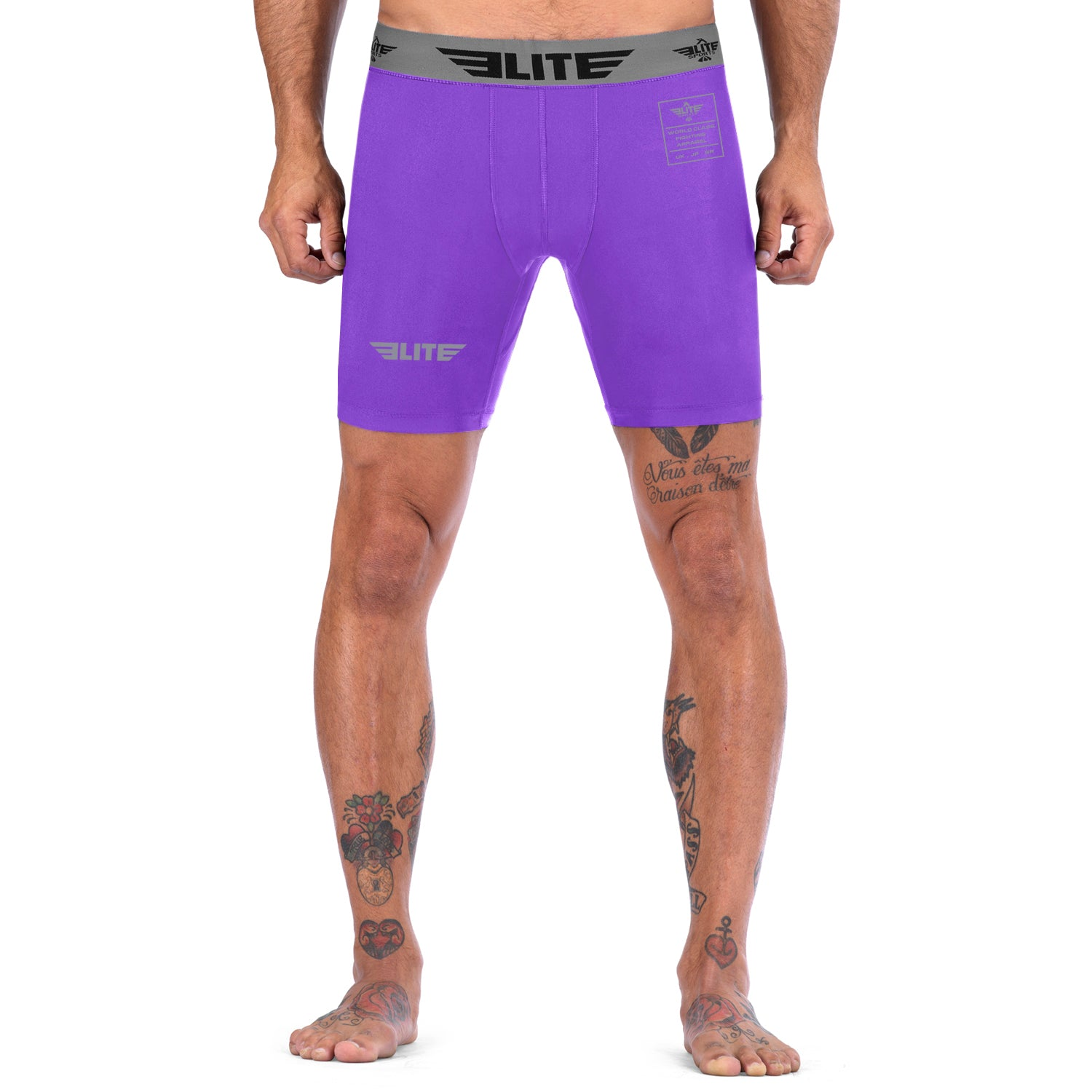 Elite Sports Purple Compression MMA Shorts