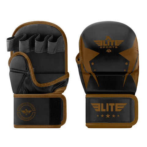 Elite Sports Star Series Black/Copper MMA Grappling Gloves