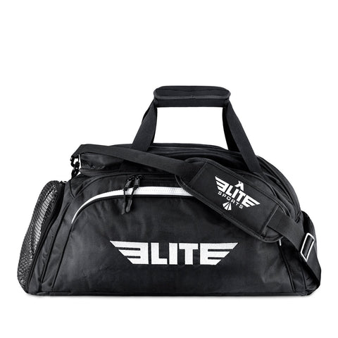 Elite Sports Warrior Series Black Medium Duffel Muay Thai Gear Gym Bag & Backpack