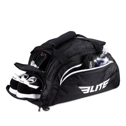 Elite Sports Warrior Series Black Large Duffel Training Gear Gym Bag & Backpack