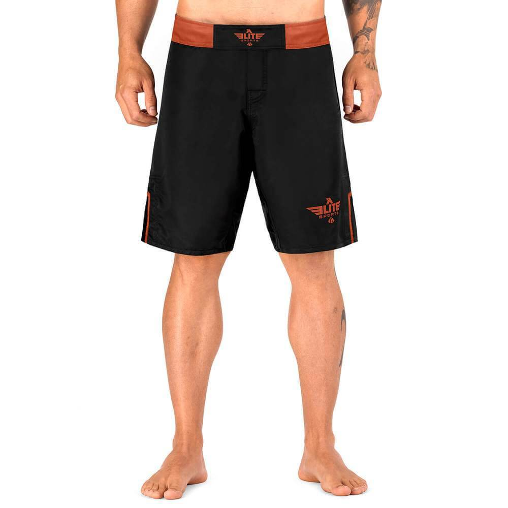 Elite Sports Black Jack Series Black/Brown Brazilian Jiu Jitsu BJJ No Gi Shorts