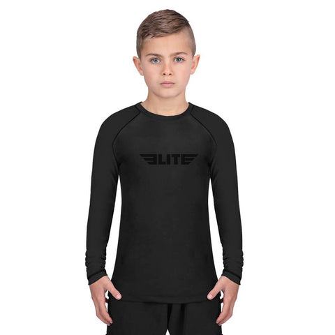 Elite Sports Standard Black Long Sleeve Kids Wrestling Rash Guard